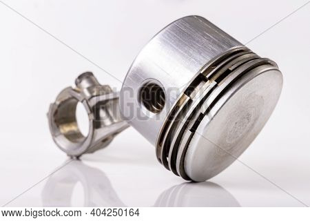 Piston And Connecting Rod Of A Small Internal Combustion Engine. Spare Parts For Engine Repair And R
