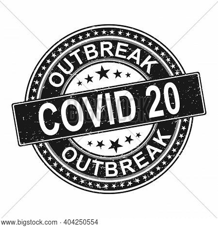 Outbreak Covid 20 Symbol. Coronavirus Pandemic Puts Countries On Lockdown. Stop Covid-20. Isolated V