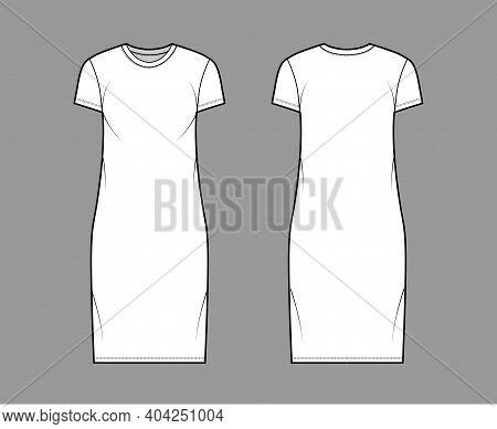 T-shirt Dress Technical Fashion Illustration With Crew Neck, Short Sleeves, Knee Length, Oversized,