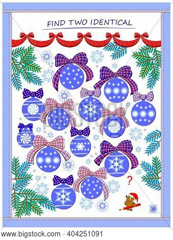 Logic Puzzle Game For Children And Adults. Find Two Identical Christmas Balls. Memory Training Exerc