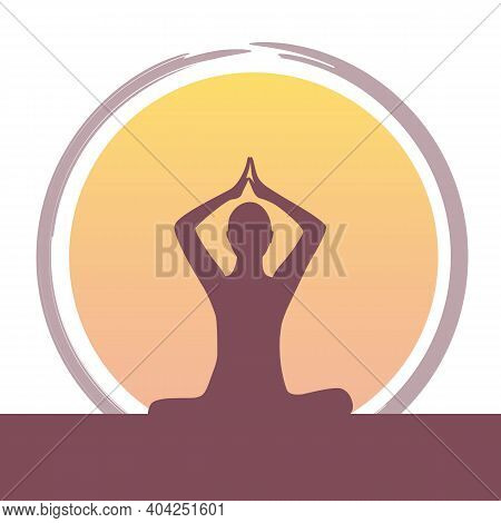 Relaxing Mediating Person At Sunset Vector Illustration Eps10