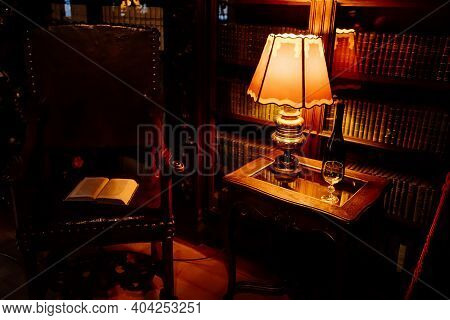 Castle Interior, Carved Wooden Baroque Furniture, Library, Table With Warm Lamp, Historic Medieval R