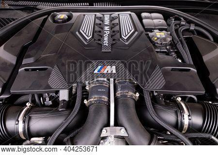 Prague, Czech Republic - December 15, 2020: Engine Of Bmw M-series Car In Prague, Czech Republic, De