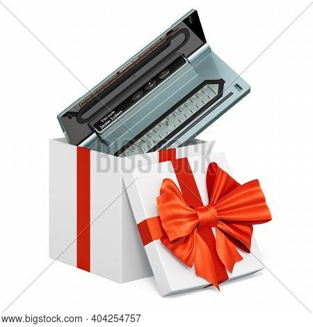 Vacuum Sealer Inside Gift Box, Present Concept. 3d Rendering Isolated On White Background