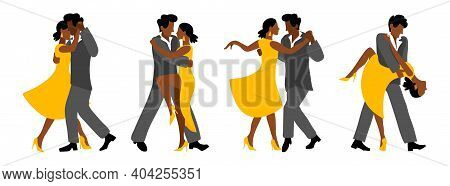 Romantic Couple In Passionate Latin American Dances. Vector Set With Couples For The Salsa Festival.