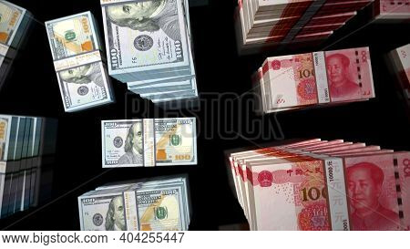 Flight Over Us Dollar And Chines Yuan Money Banknote Packs Illustration