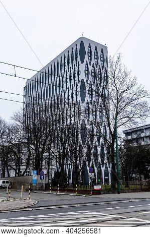 Poznan February 15 2020 Facade Of Nobel Tower Building Near Street