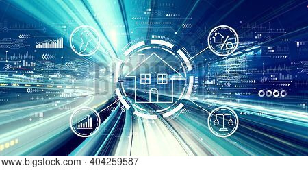 Real Estate Theme With Abstract High Speed Technology Pov Motion Blur