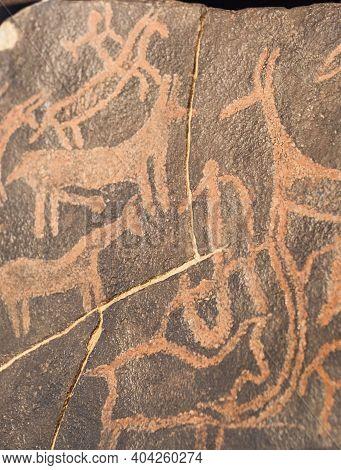 Lisbon, Portugal - March The 1st, 2020: Rock Engravings Of Khatum Melaha. Bronze Age. National Archa