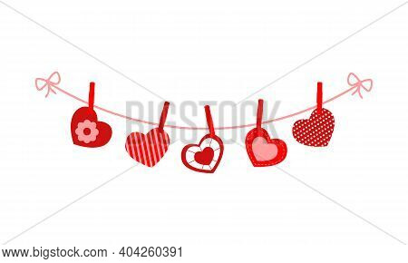 Cute Valentine Hearts Hanging On The Rope On The Clothespins. Decorating For Greeting Cards, Banners