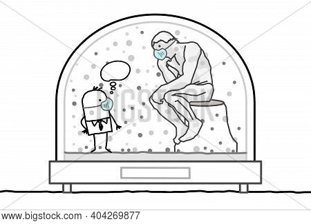 Hand Drawn Cartoon Man With Protection Mask, Contained In A Snow-dome, Meeting The Rodin's Thinker
