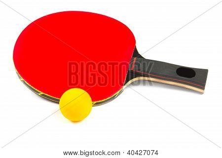 Ping Pong Red Racket With Yellow Ball