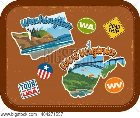 Washington, West Virginia Travel Stickers With Scenic Attractions And Retro Text On Vintage Suitcase