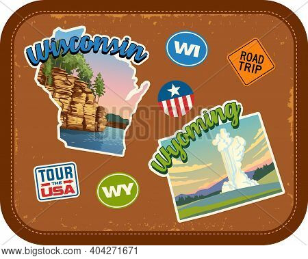 Wisconsin, Wyoming Travel Stickers With Scenic Attractions And Retro Text On Vintage Suitcase Backgr