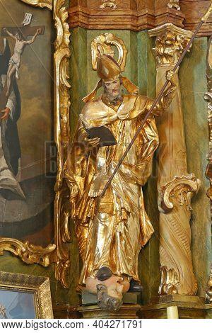 SVETI PETAR MREZNICKI, CROATIA - JULY 14, 2013: St. Valentine, statue on the altar of st. Vincent Ferrer at St. Peter's Parish Church in Sveti Petar Mreznicki, Croatia