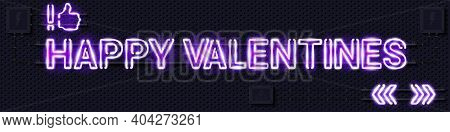 Happy Valentines Glowing Purple Neon Lamp Sign. Realistic Vector Illustration. Perforated Black Meta
