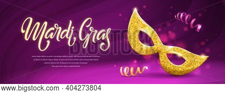 Mardi Gras Brochure. Fat Tuesday Logo With Hand Drawn Lettering And Golden Mask. Vector Banner With