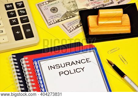 Insurance Policy. The Text Label In The Document Of The Treaty. Transfer Of Risk In A Business By Pu