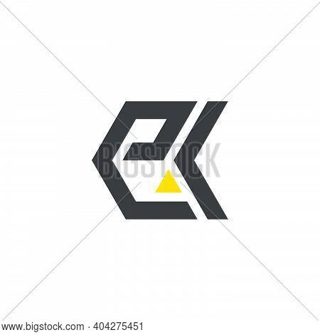 Abstract Letter Ek Triangle Geometric Arrow Line Logo Vector