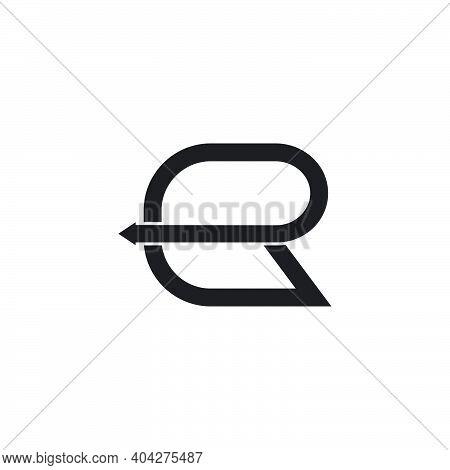 Letter Er Simple Square Motion Line Arrow Geometric Logo Vector