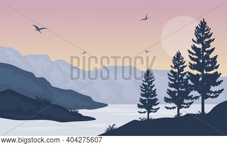 Beautiful Scenic At Sunset In The City Edge. Vector Illustration
