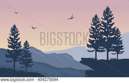 Beautiful Atmosphere In The Afternoon With Nice Nature Scenic. Vector Illustration