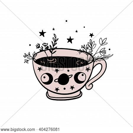 Tea Time, A Mug Of Tea, A Cup Of Coffee. Doodle Illustration For Witch Shop, Witchcraft Herbal Potio