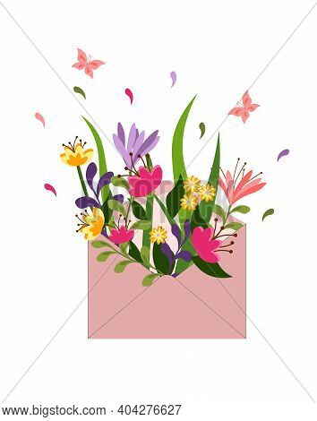 Spring Card With A Postal Envelope And A Bouquet Of Flowers. Time For Spring. Vector Card For Invita