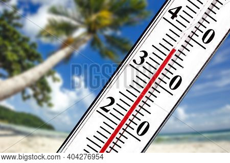 High Summer Temperature. Thermometer Isolated. Summer Holiday Background. Vacation Hot Resort. Sunny