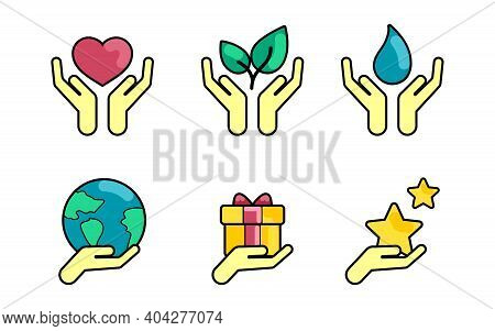 Vector Healing Hands Icon. Isolated On White Background. Healing Hands Icon Vector For Environmental