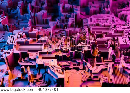 3d Illustration Of A Pattern In The Form Of A Metal, Technological Plating Of A Spaceship Or A Robot