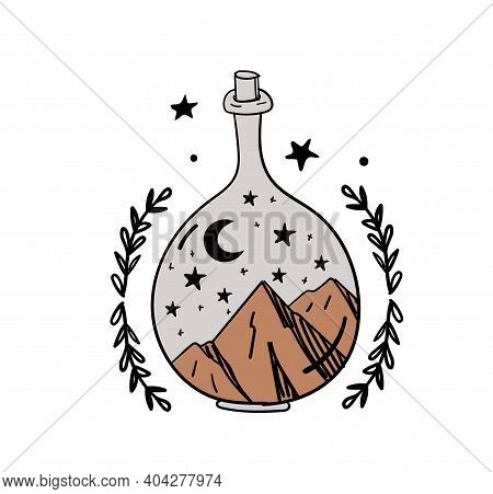 Hand Drawn Magic Bottle For Witchcraft, Magical Boho Illustration, Vase With Mountains And Moon Insi