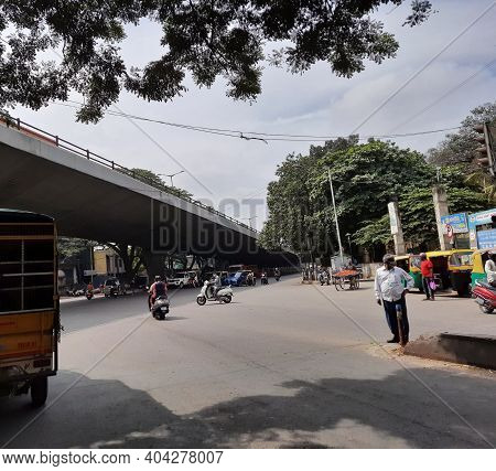 Beautiful View Of Binny Pete, Tank Bund Road Land Mark, Bridge And Roads Like Sirsi Circle Bridge, E