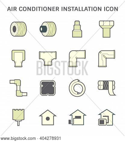 Air Conditioner Installation Part And Tools Icon Such As Copper Pipe Or Tube, Thermal Insulation, Ho