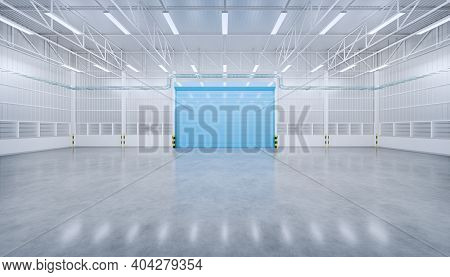 3d Rendering Of Empty Factory Or Warehouse Or Industrial Building. Protection With Roller Door Or Ro