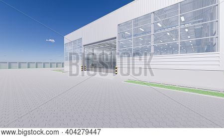 3d Rendering Of Industrial Or Commercial Building Interior Exterior. Use As Factory, Warehouse, Hang