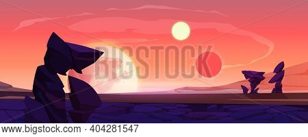 Alien Planet Landscape, Dusk Or Dawn Desert Surface With Mountains, Rocks, Satellite And Two Suns Sh