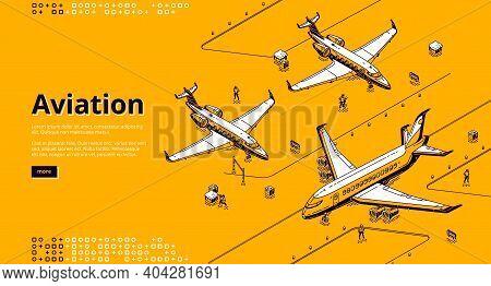 Aviation Isometric Landing Page. Airplanes On Airport Runway. Planes On Aerodrome Prepare To Flight,