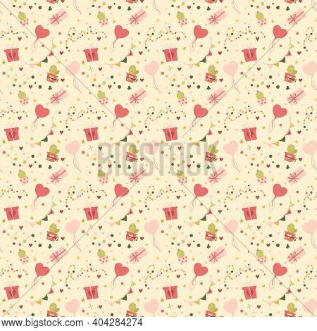 Valentines Day Seamless Pattern Gifts And Hearts. Greeting Card Or Invitation In Trendy Style.vector