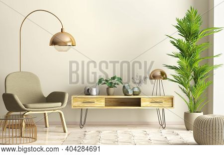Modern Interior Design Of Living Room With Wooden Sideboard And Armchair Against Beige Wall, Home 3d