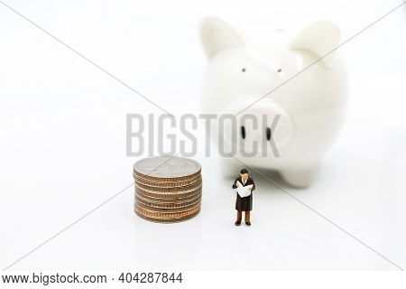 Miniature People: Elderly Person Standing  With Coins Stack And Piggy Bank, Retirement Planning Conc