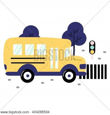 Childish School Bus On A Road With Crosswalk, Traffic Lights And Trees Isolated On White Background.
