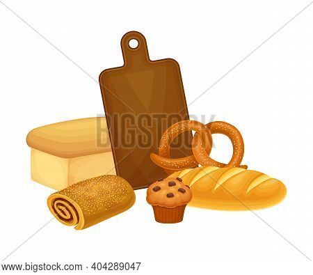 Freshly Baked Bread Products With Sweet Pastry And Cutting Board Vector Composition