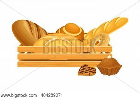 Wooden Crate Full With Bread And Sweet Pastry Vector Composition