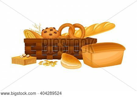Wicker Basket Full With Bread And Sweet Pastry Vector Composition