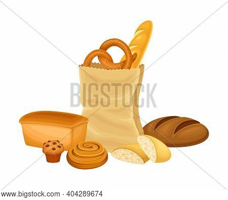 Kraft Paper Bag Full With Bread And Wheat Pastry Vector Composition