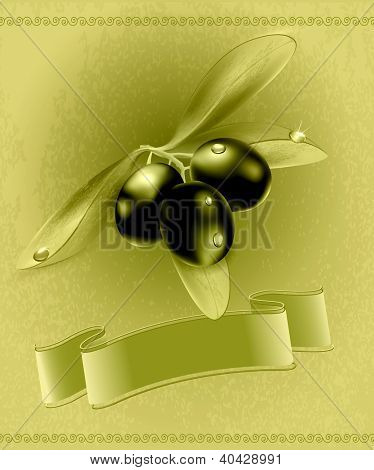 retro background with olives and a ribbon