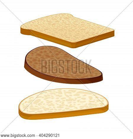 Wholegrain Bread Slices As Breakfast Ingredients Vector Illustration