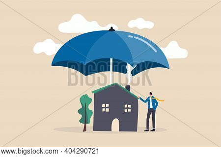 House Insurance, Home Disaster Insure Coverage Or Safety Or Shield For Residential Building Concept,