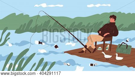 Ecological Catastrophe And Water Contamination Concept. Fisherman Catching Fish At Dirty River Conta